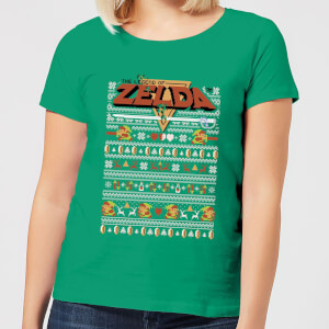 Nintendo Legend Of Zelda Pattern Women's Christmas T-Shirt - Kelly Green