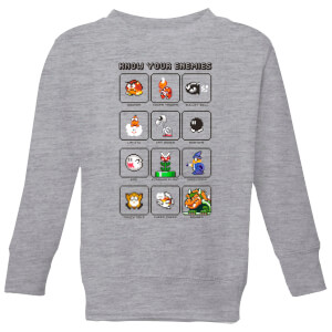 Nintendo Super Mario Know Your Enemies Kid's Sweatshirt - Grey