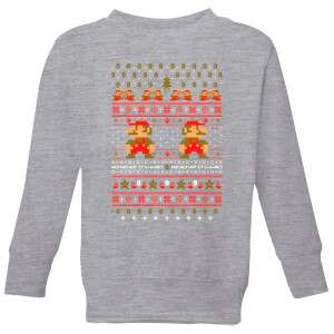 Nintendo Super Mario Ho Ho Ho Its A Me Kid's Christmas Sweatshirt - Grey
