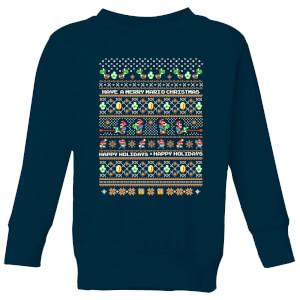 Nintendo Super Mario Yoshi Have A Merry Mario Christmas Kid's Sweatshirt - Navy