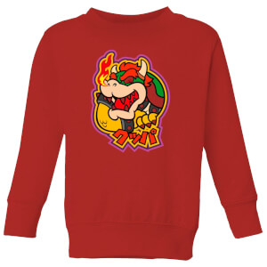 Nintendo Super Mario Bowser Kanji Kids' Sweatshirt - Red