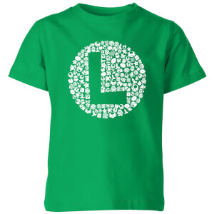 Nintendo Super Mario Luigi Items Logo Kid's T-Shirt - Kelly Green