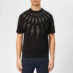 Neil Barrett Men's Kimono Fairisle Thunderbolt T-Shirt - Black/Black