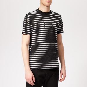 Neil Barrett Men's Bolt Wings Striped T-Shirt - Black/Black