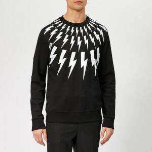 Neil Barrett Men's Bolt Fairisle Sweatshirt - Black/White