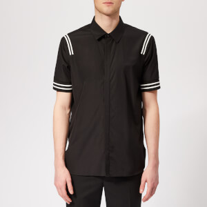Neil Barrett Men's Varsity Stripe Short Sleeve Shirt - Black/White