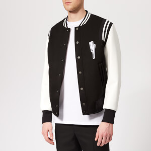 38279a99f3953 Neil Barrett Men's Varsity Bolt Bomber Jacket - Black/White