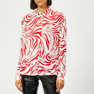 MSGM Women's Zebra Print Shirt - Red