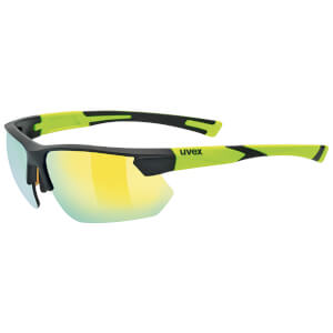 Uvex Sportstyle 221 Glasses - Black Matte/Yellow