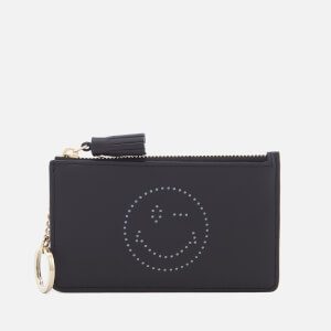 Anya Hindmarch Women's Wink Face Zipped Card Key Case - Black