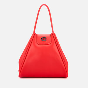 Armani Exchange Women s Medium Shopper Tote Bag with Logo Flap - Red 1ae38c7296a15