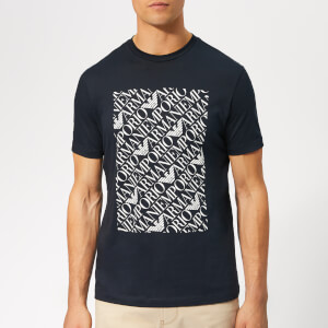 Emporio Armani Men's Box Logo T-Shirt - Blue Navy