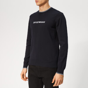 Emporio Armani Men's Logo Knitted Jumper - Blue Navy
