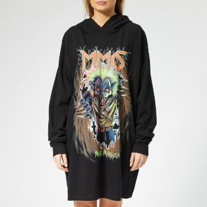 MM6 Maison Margiela Women's Oversized Hooded Printed Dress - Black