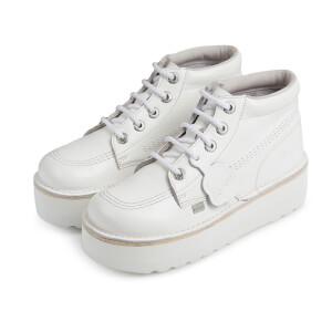 Kickers Women's Kick Hi-Stack Leather Boots - White/Metallic