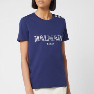 Balmain Women's Logo T-Shirt - Blue