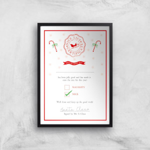 Nice List Certificate Christmas Art Print