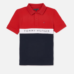 Tommy Hilfiger Boys' Essential Colourblock Stripe Polo Shirt - Lychee