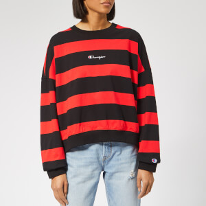 Champion Women's Crew Neck Striped Sweatshirt - Red/Black