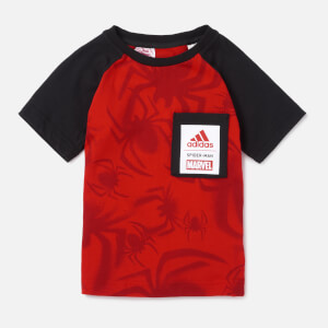 adidas Little Boy Marvel Raglan Short Sleeve T-Shirt - Red