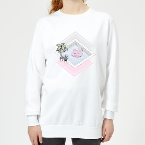 Barlena Flamingos Paradise Women's Sweatshirt - White