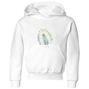 Barlena Geometry and Nature Kids' Hoodie - White