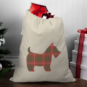 Tartan Scotty Dog Christmas Santa Sack