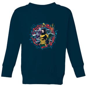 Aquaman Circular Portrait Kids' Sweatshirt - Navy