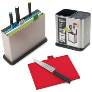 Joseph Joseph Chopping Board and Knives Bundle with Surface Utensil Pot