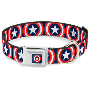 Buckle-Down Marvel Captain America Dog Collar - Navy (Various Sizes)