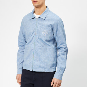 YMC Men's Emboidered Bowie Shirt - Light Blue