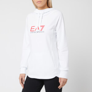 Emporio Armani EA7 Women's Train Shiny Logo Hoody - White