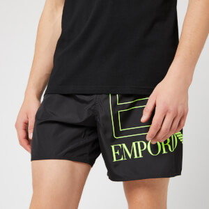 Emporio Armani EA7 Men's Sea World BW Big Logo Boxer Swim Shorts - Nero