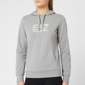 Emporio Armani EA7 Women's Train Logo Series Studded Hoody - Medium Melange Grey