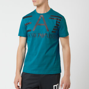 Emporio Armani EA7 Men's Train Logo Series Oversize Logo Short Sleeve T-Shirt - Turkish Blue