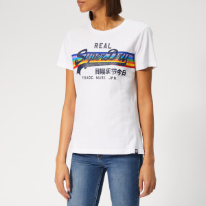 Superdry Women's V Logo Retro Rainbow Entry T-Shirt - Optic