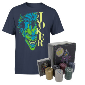 DC Comics Batman Split Joker Stare Navy T-shirt & Joker Poker Bundle