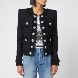 Balmain Women's Collarless Tweed Jacket - Black