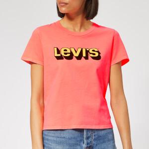 Levi's Women's Graphic Surf T-Shirt - 3D Logo Washed Neon Orange