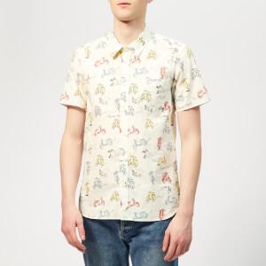 Maison Kitsuné Men's All-Over Scooter Shorts Sleeves Shirt - Multi Print