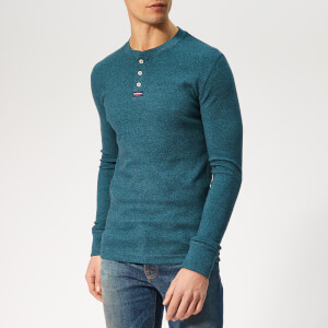 Superdry Men's Grandad Long Sleeve T-Shirt - Malibu Blue