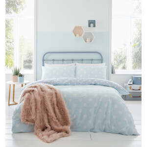 Catherine Lansfield Polka Dot Easy Care Duvet Set - Duck Egg