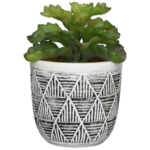 Candlelight Succulent in Pot Triangle Pattern - Black/White