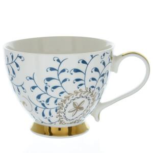 Candlelight Bone China Footed Mug - Navy and Gold
