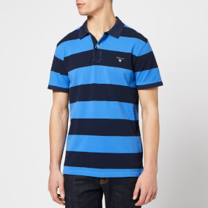GANT Men's Barstripe Pique Rugger Polo Shirt - Palace Blue