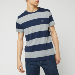 GANT Men's The Original Barstripe Short Sleeve T-Shirt - Grey Melange