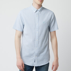 GANT Men's Tech Prep Seersucker Stripe Short Sleeve Shirt - Poseidon Blue