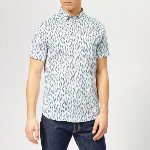 Ted Baker Men's Woolrus Patterned Short Sleeve Shirt - Turquoise