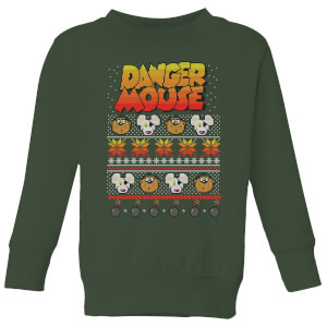 Danger Mouse Pattern Knit Kinder Sweatshirt - Dunkelgrün