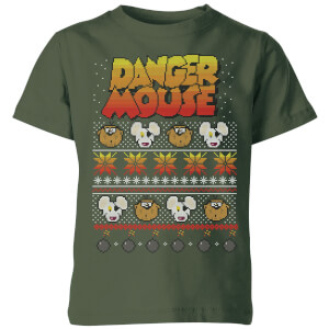 Danger Mouse Pattern Knit Kinder T-Shirt - Dunkelgrün